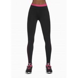 Sportovní legíny INSPIRE BAS BLEU černo růžové detailní pohled zepředu