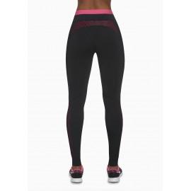 Sportovní legíny INSPIRE BAS BLEU černo růžové detailní pohled zezadu