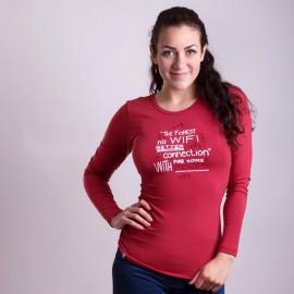 "SONJA ""NO WIFI"" dámské triko s dlouhým rukávem s bambusem tm.červená - doprodej"