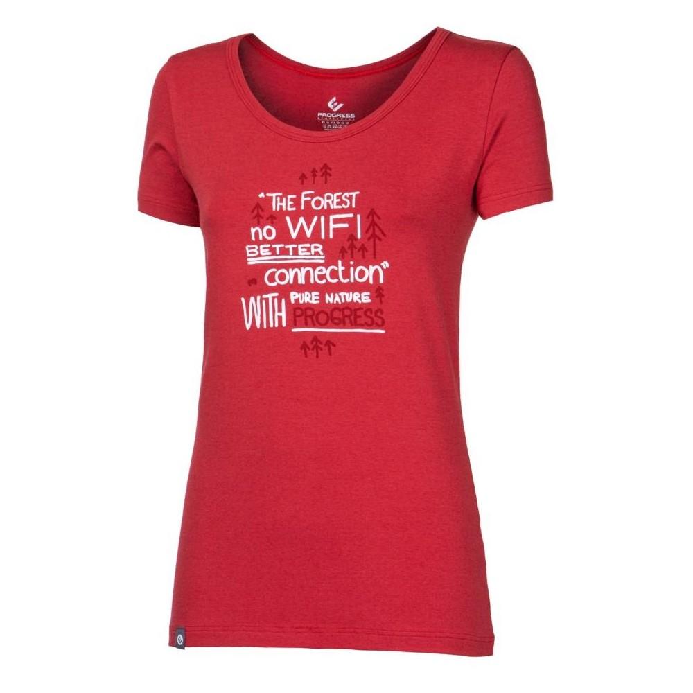 """SASA """"NO WIFI"""" dámské triko s bambusem tm.červená - doprodej"""