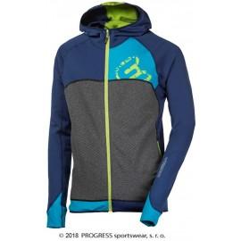REBEL HOODY pánská sportovní mikina s kapucí modrá/tyrkys/zel.