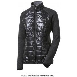 DINARA WOOL dámská sportovní hybridní bunda s vlnou černý melír/černá - doprodej