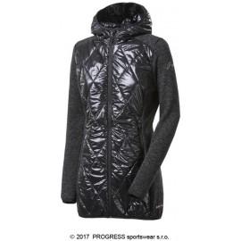 SILVRETTA WOOL dámský hybridní kabátek s kapucí s vlnou černý melír/černá - doprodej